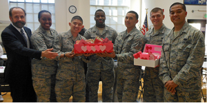 Jerry Hill and South City seniors make Valentines for overseas military
