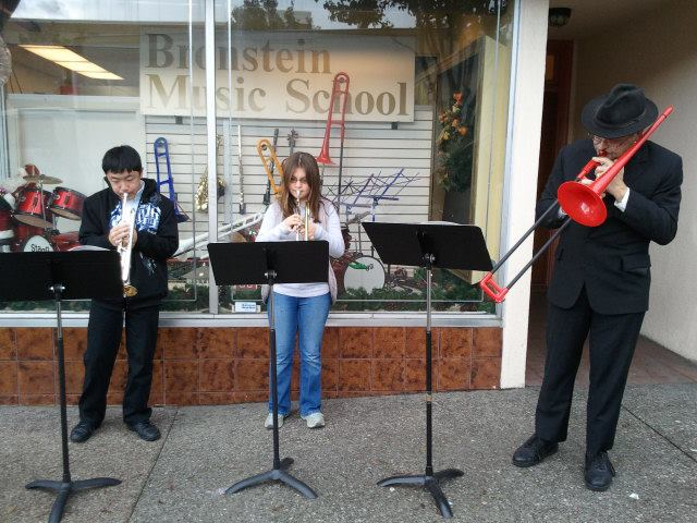 Student musicians turned street performers in South San Francisco
