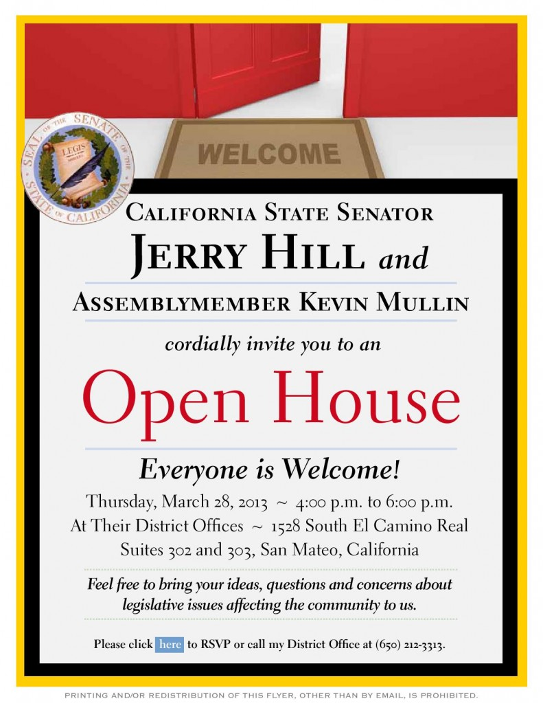 Open House Invite from Senator Hill and Assemblymember Mullin