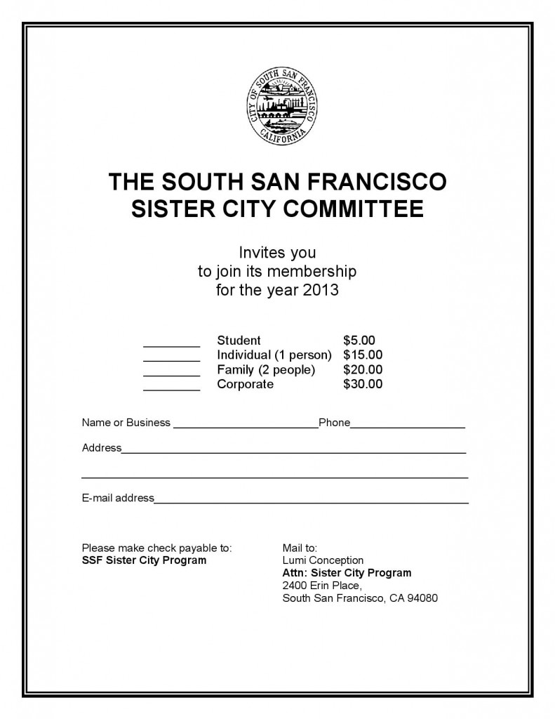 South San Francisco's Sister Cities Committee – JOIN NOW!