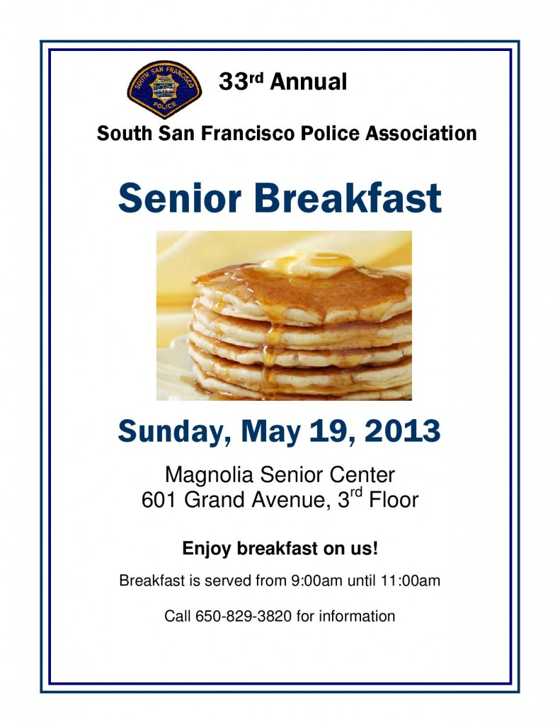 Cops caring for seniors May 19th Pancake Breakfast