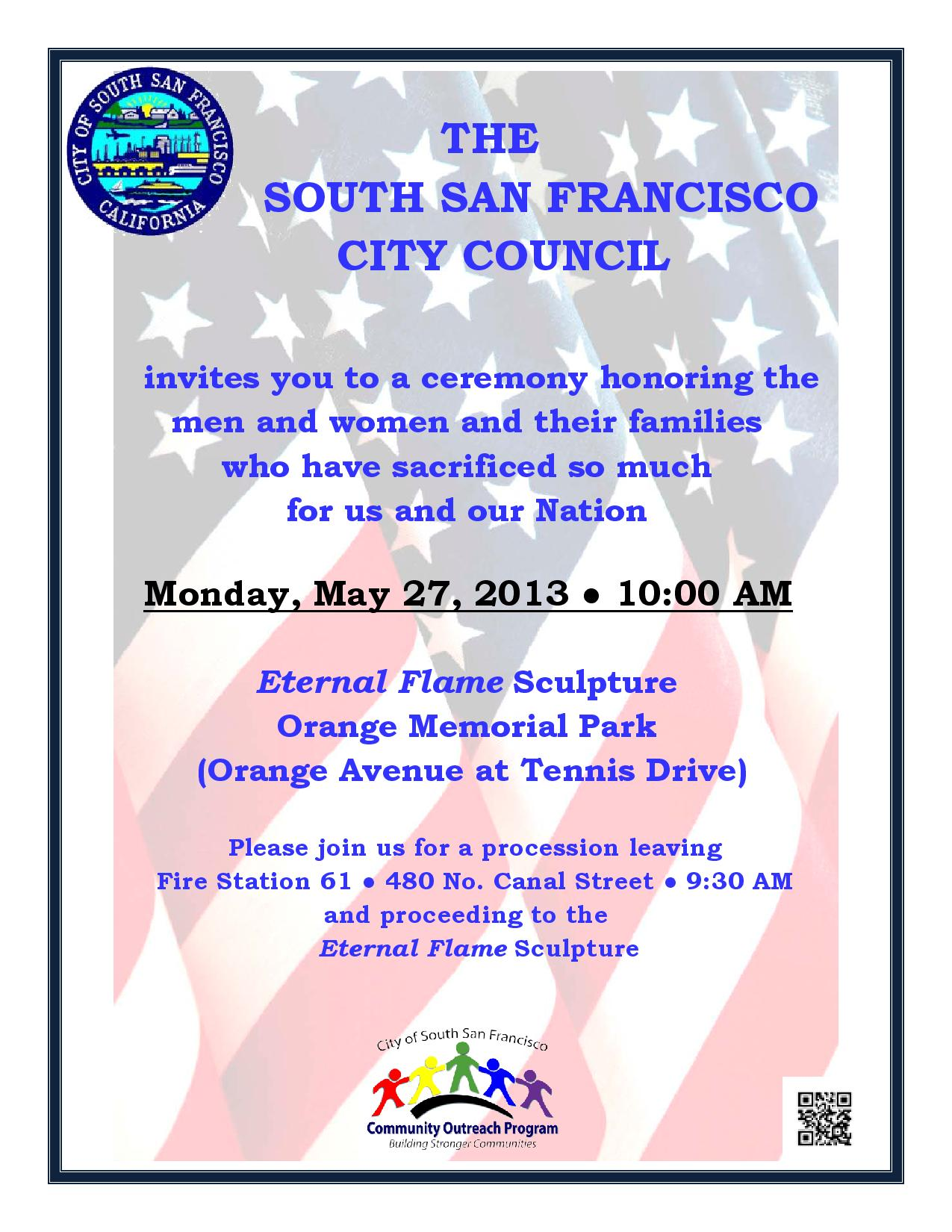 Memorial Day Services in South San Francisco