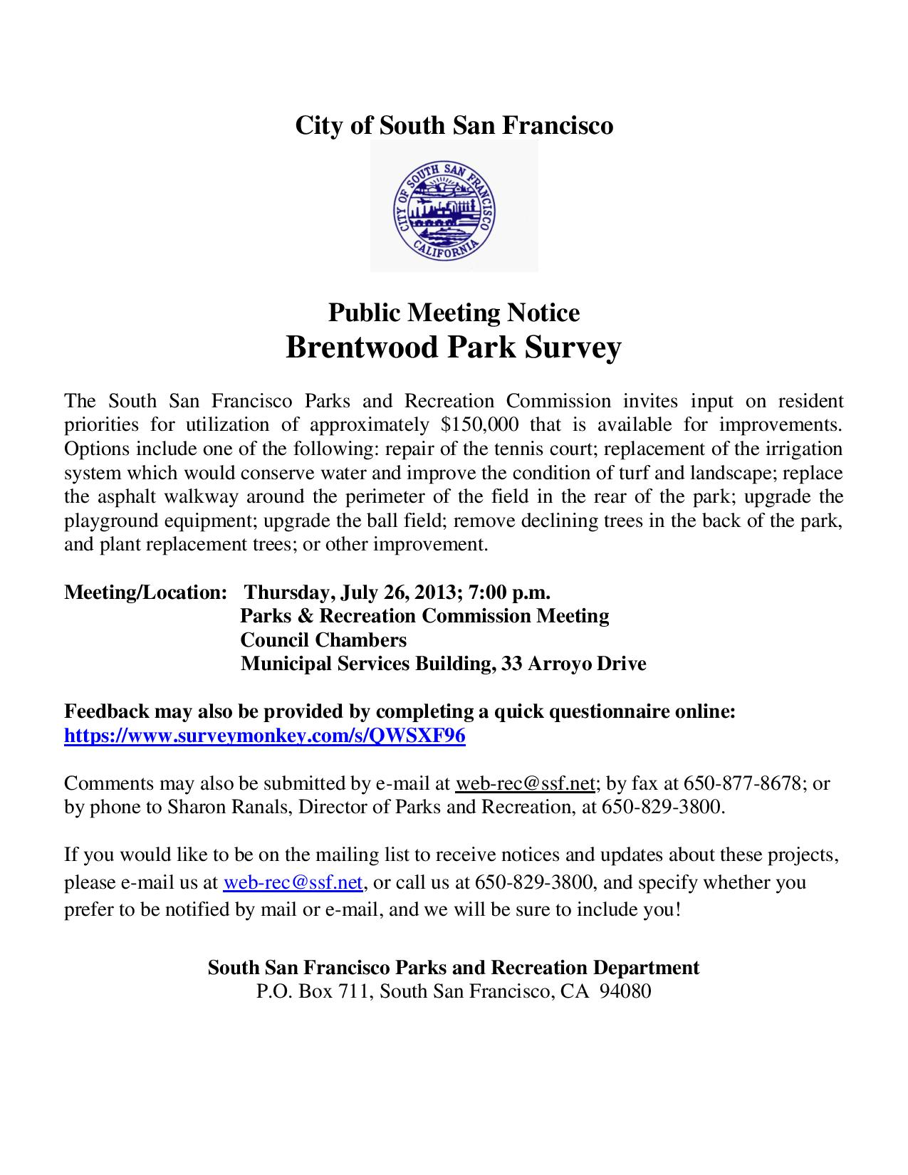 Brentwood Park to see renovation MTG: THUR July 25