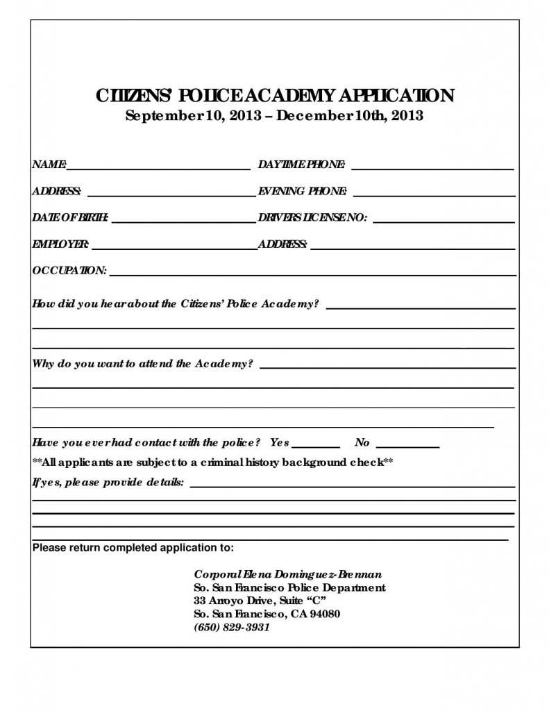 Citizens' Police Academy – New Class starting in Sept – Sign up now