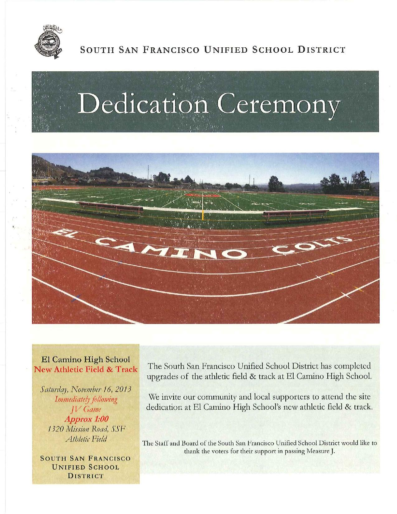 Dedication Ceremony ~ ELCHS New Athletic Field & Track