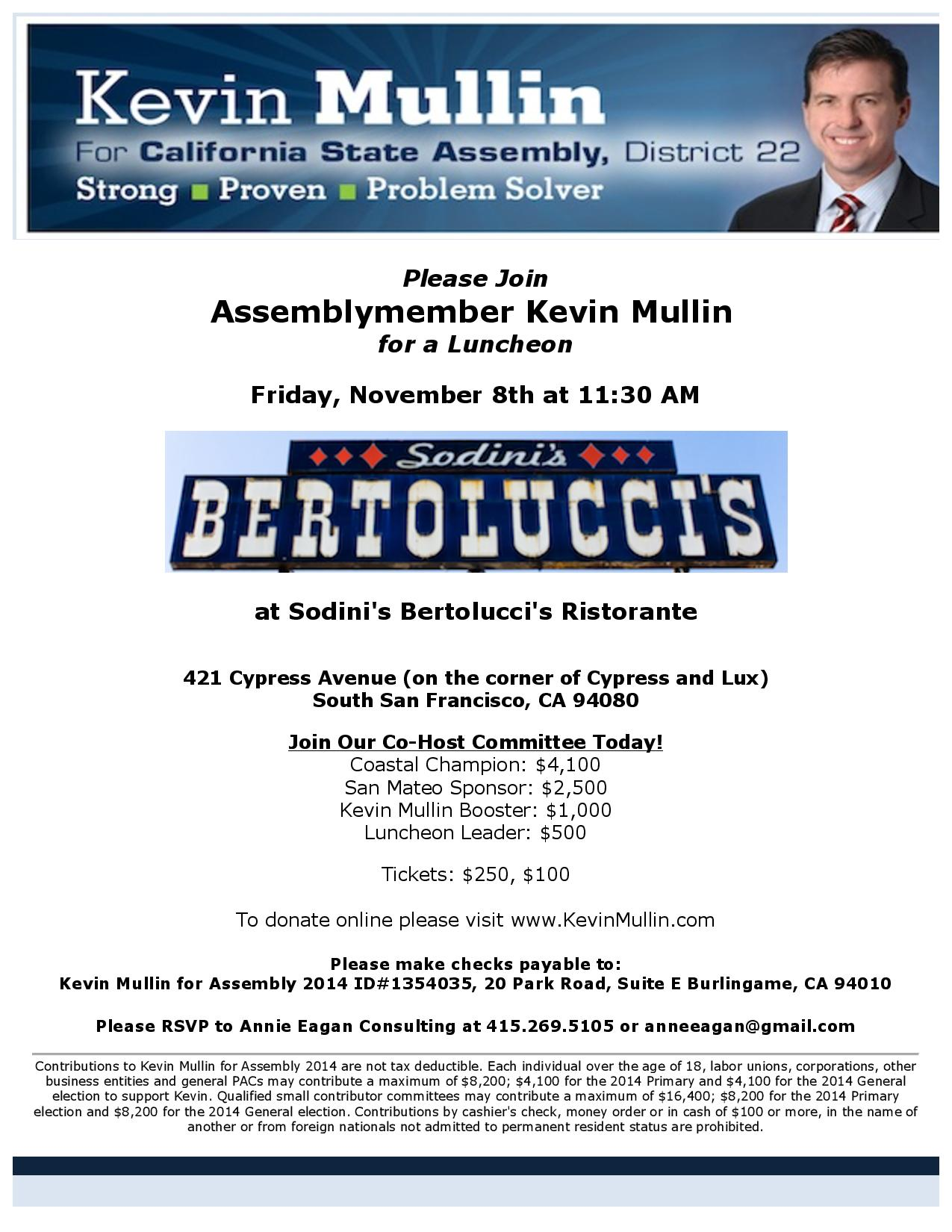 Kevin Mullin Re-Election Fundraiser At Bertolucci's