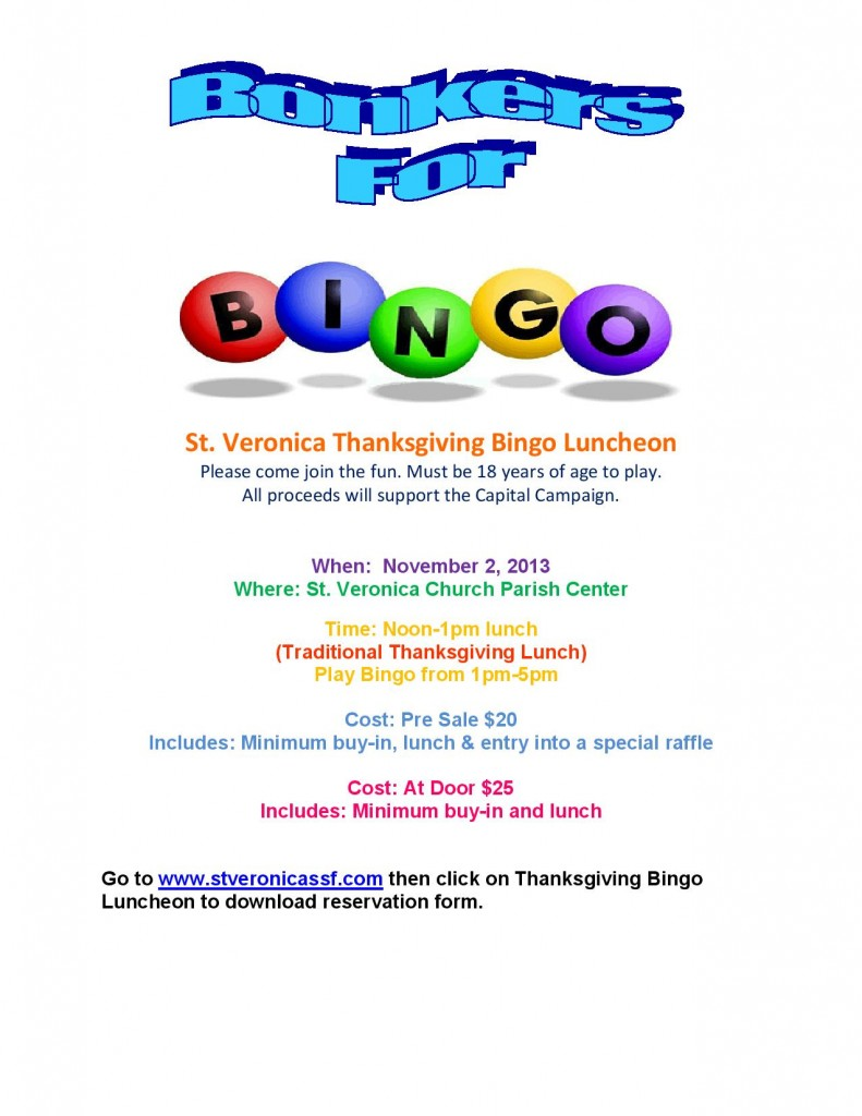 Thanksgiving Luncheon BINGO at St. Veronica's