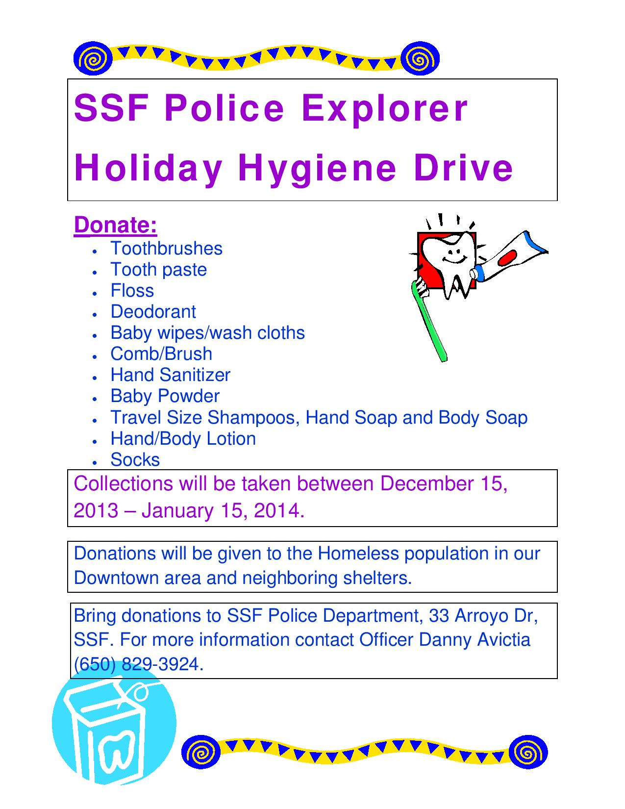 South San Francisco Explorer Holiday Hygiene Drive