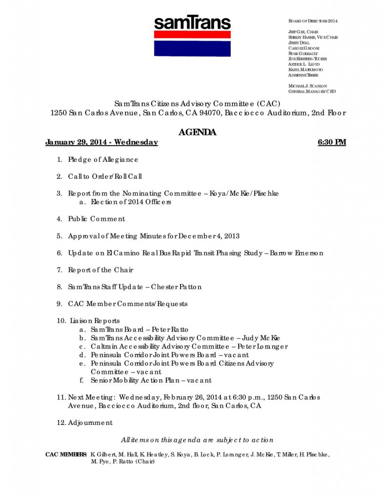 SamTrans Citizens Advisory Committee Agenda January 29, 2014