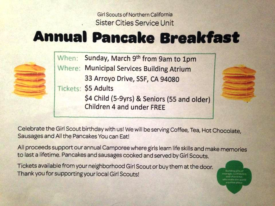 Annual Girl Scout Pancake Breakfast March 9th at MSB