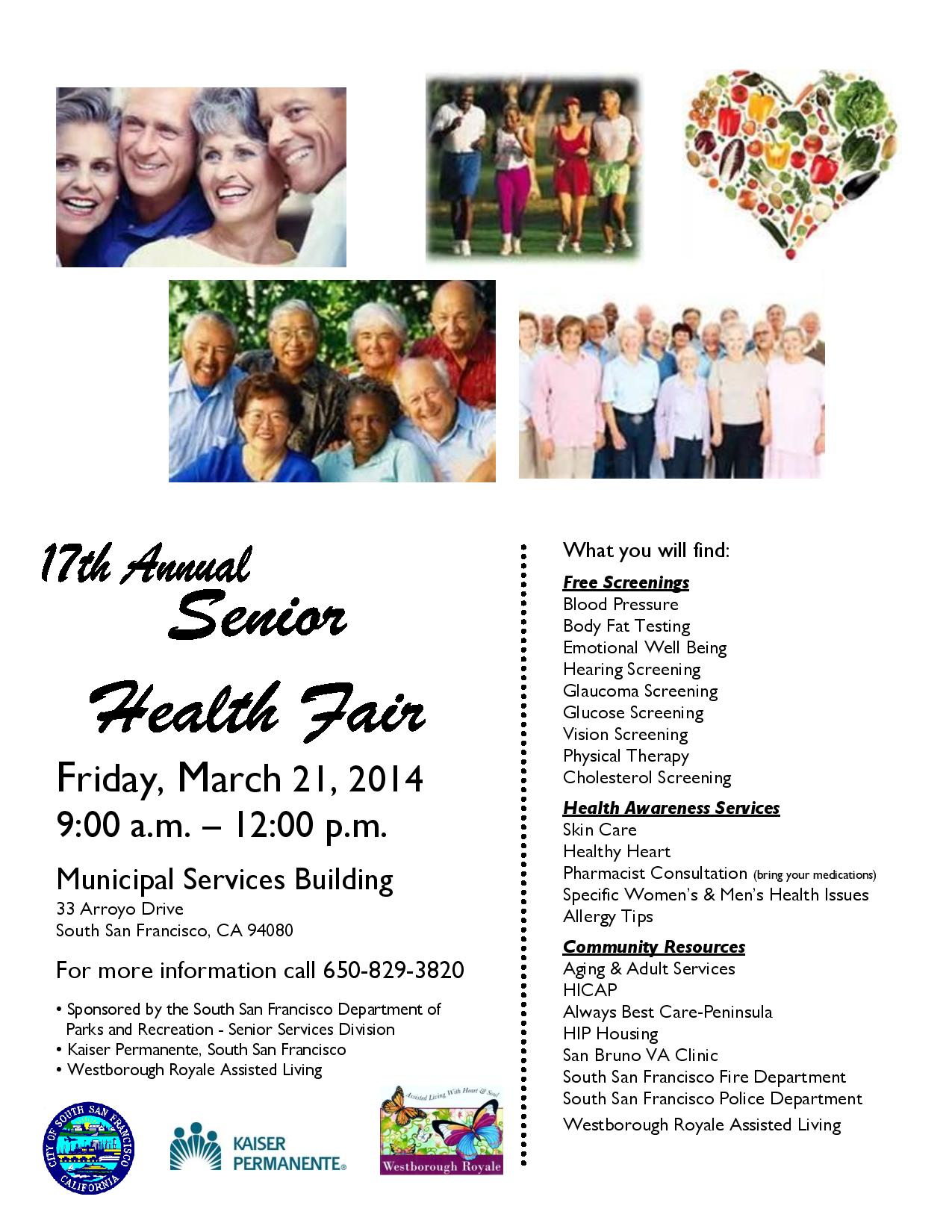 Senior Health Fair Flyer Senior Health Fair 2014
