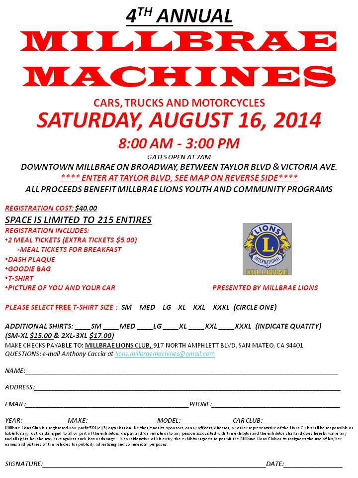Millbrae Machines back for the 4th year August  16th