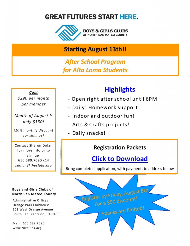 On-Site After School Program at Alta Loma