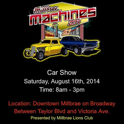 Millbrae Car Show August 16 – Mark calendars now
