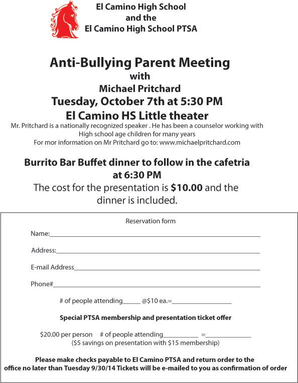 Anti-Bullying Presentation Coming to El Camino High School