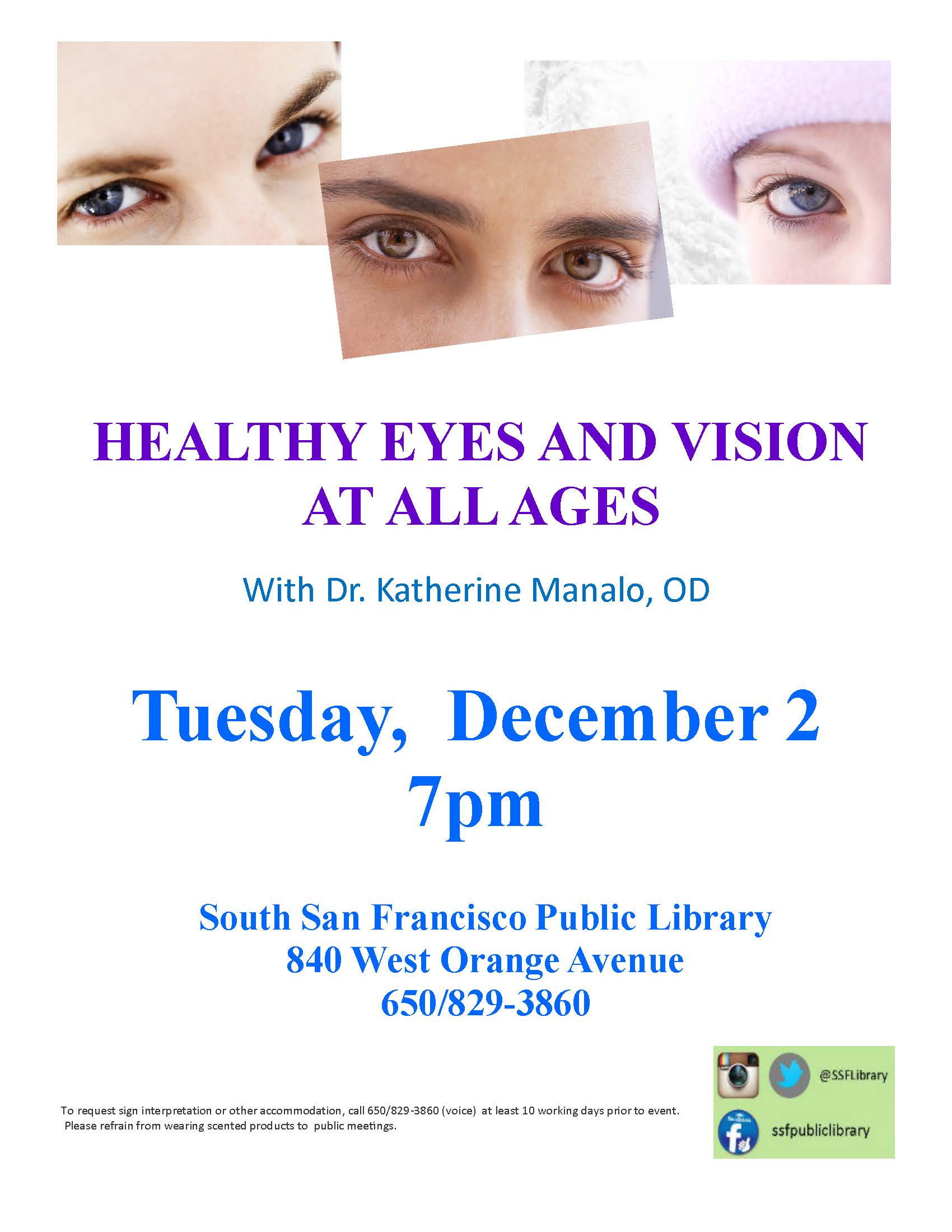 SSF Library Presents: Healthy Eyes At All Ages