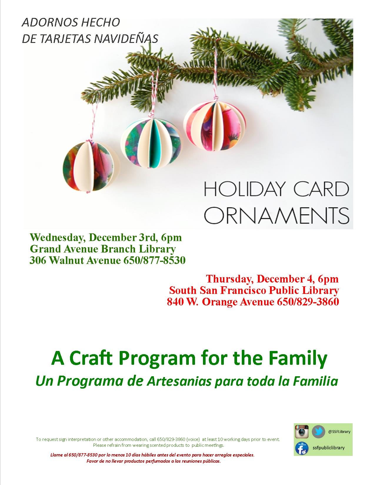 SSF Library Presents  Family Craft: Holiday Card Ornaments