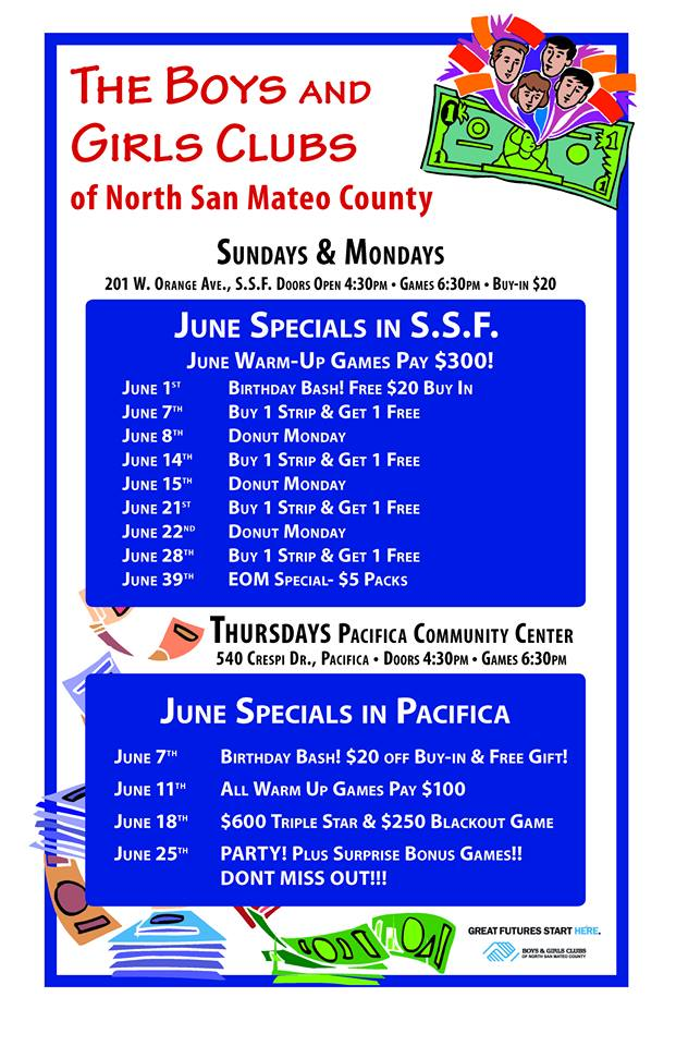 June BINGO at SSF Boys & Girls Club