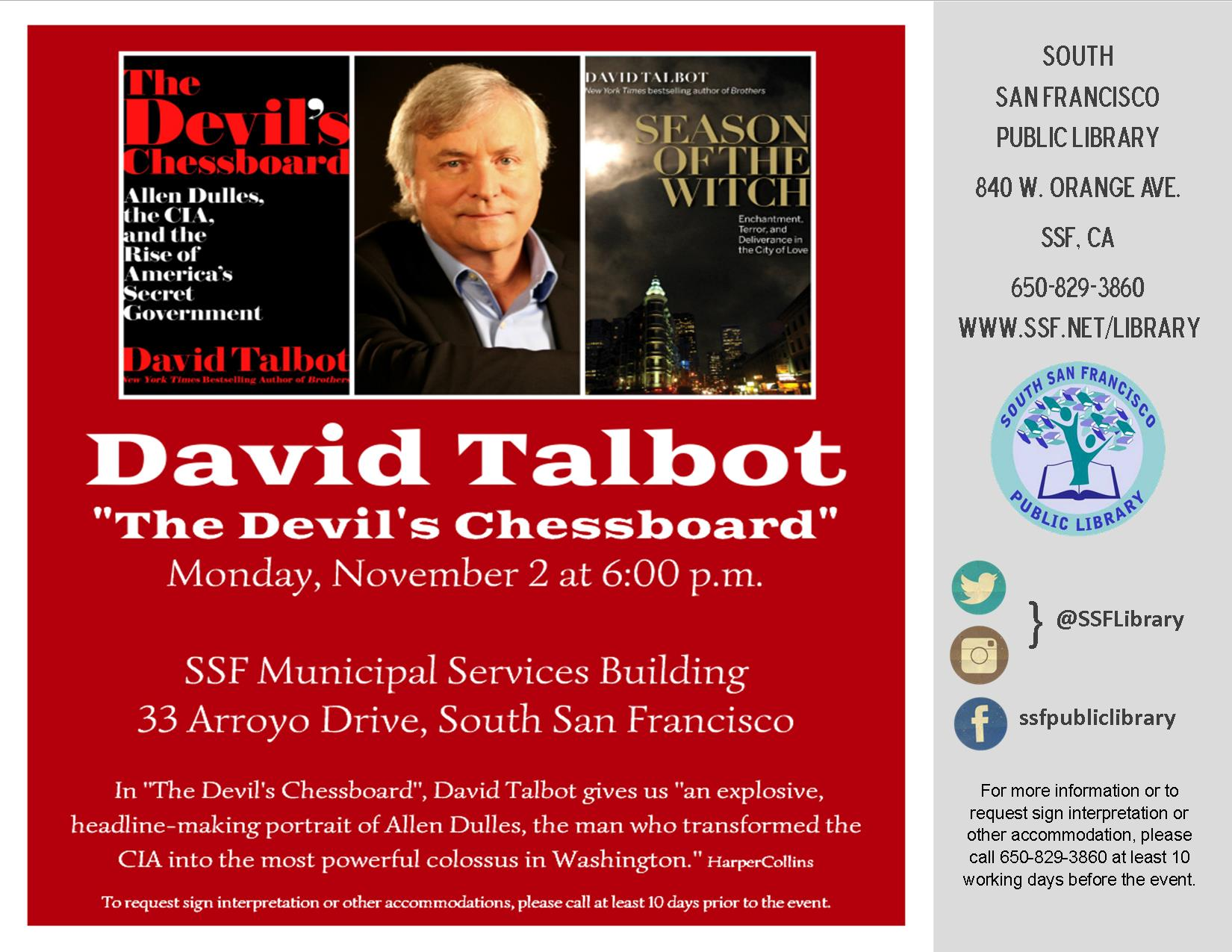 Author David Talbot Monday, Nov. 2nd at 6PM at the SSF Municipal Services Building