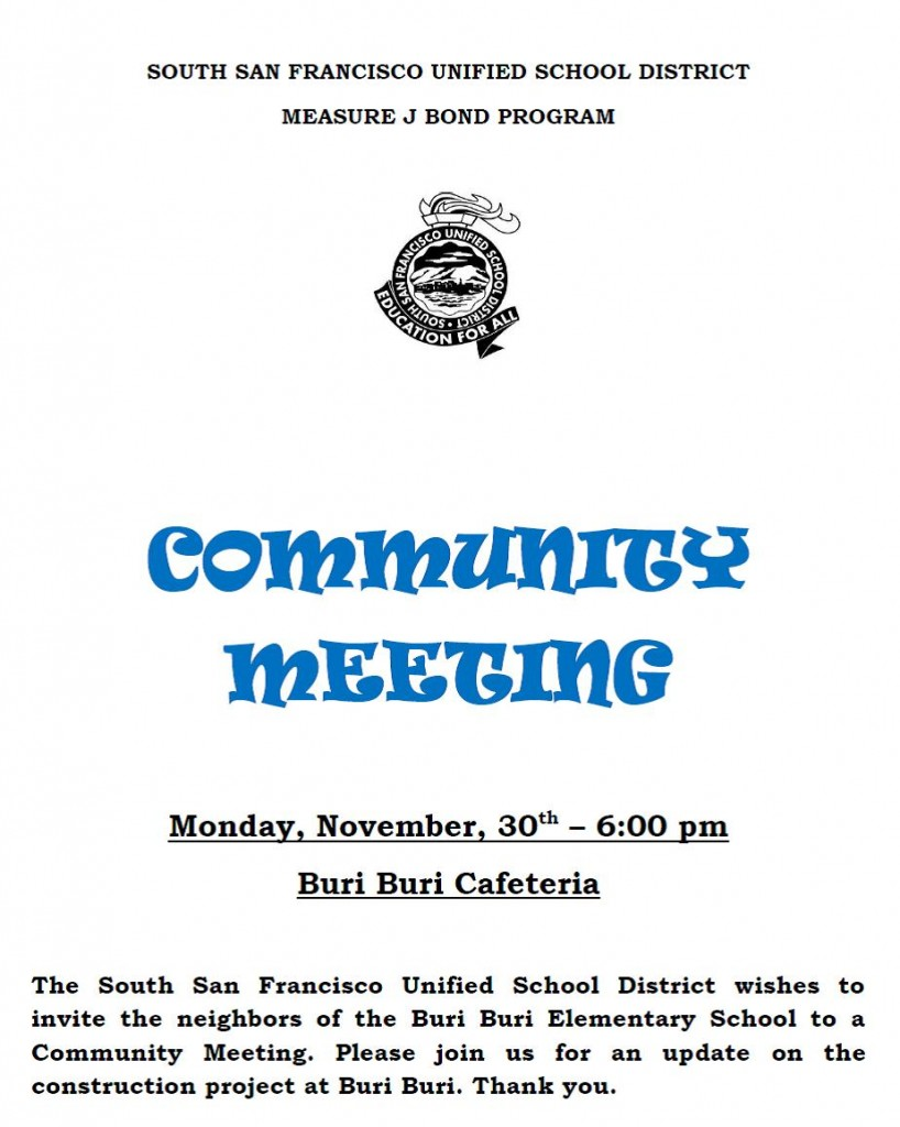 SSFUSD Buri Buri Community Meeting – Monday, November 30, 2015 6:00 pm