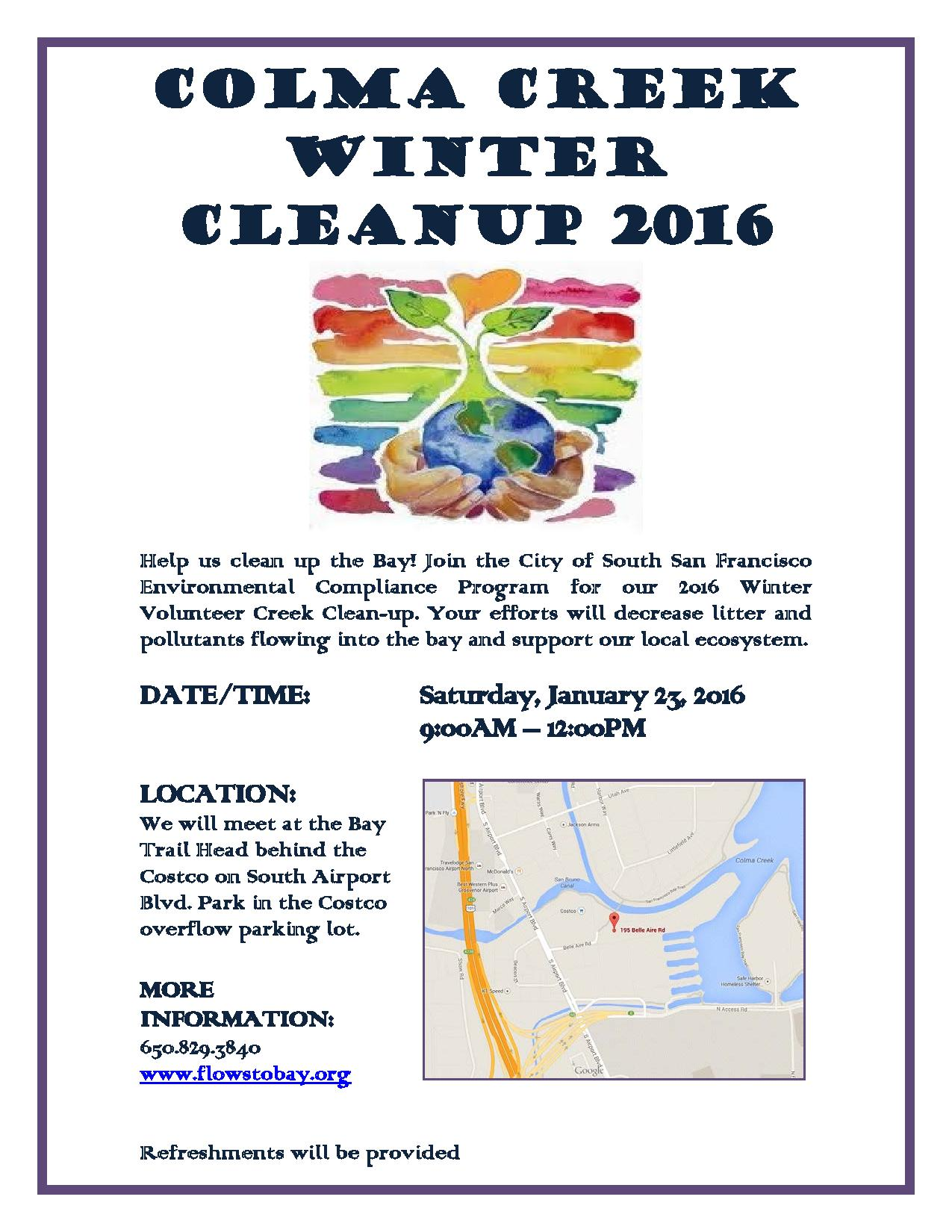 CANCELED! Colma Creek Winter Clean Up 2016