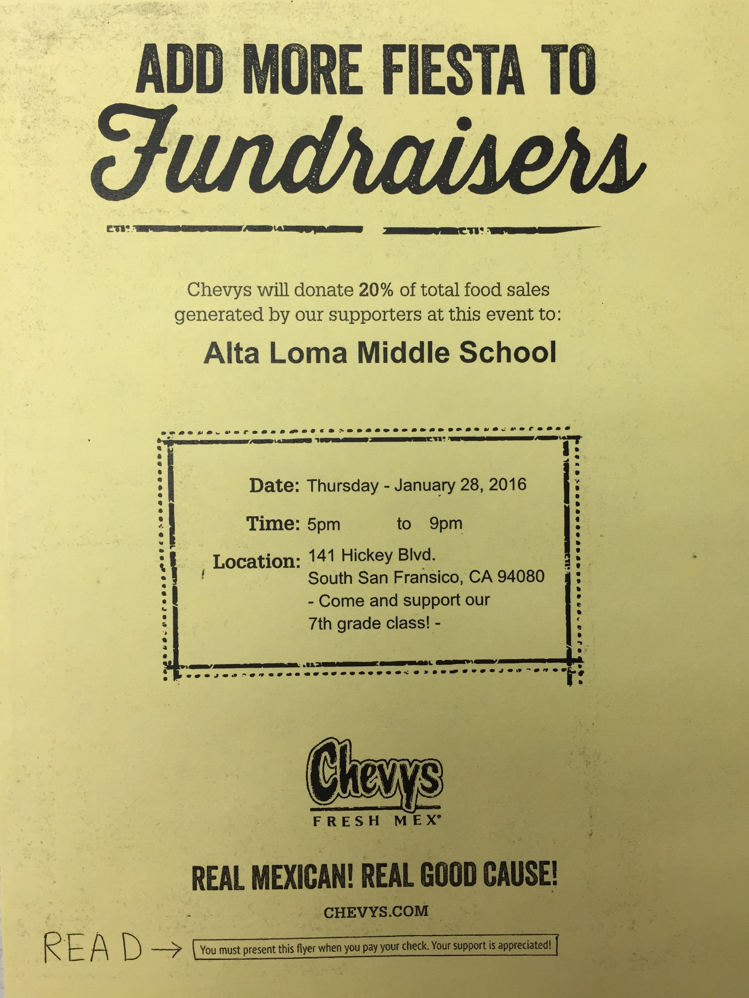 Alta Loma Middle School Hosts Fundraiser at Chevy's Thursday Jan 28th