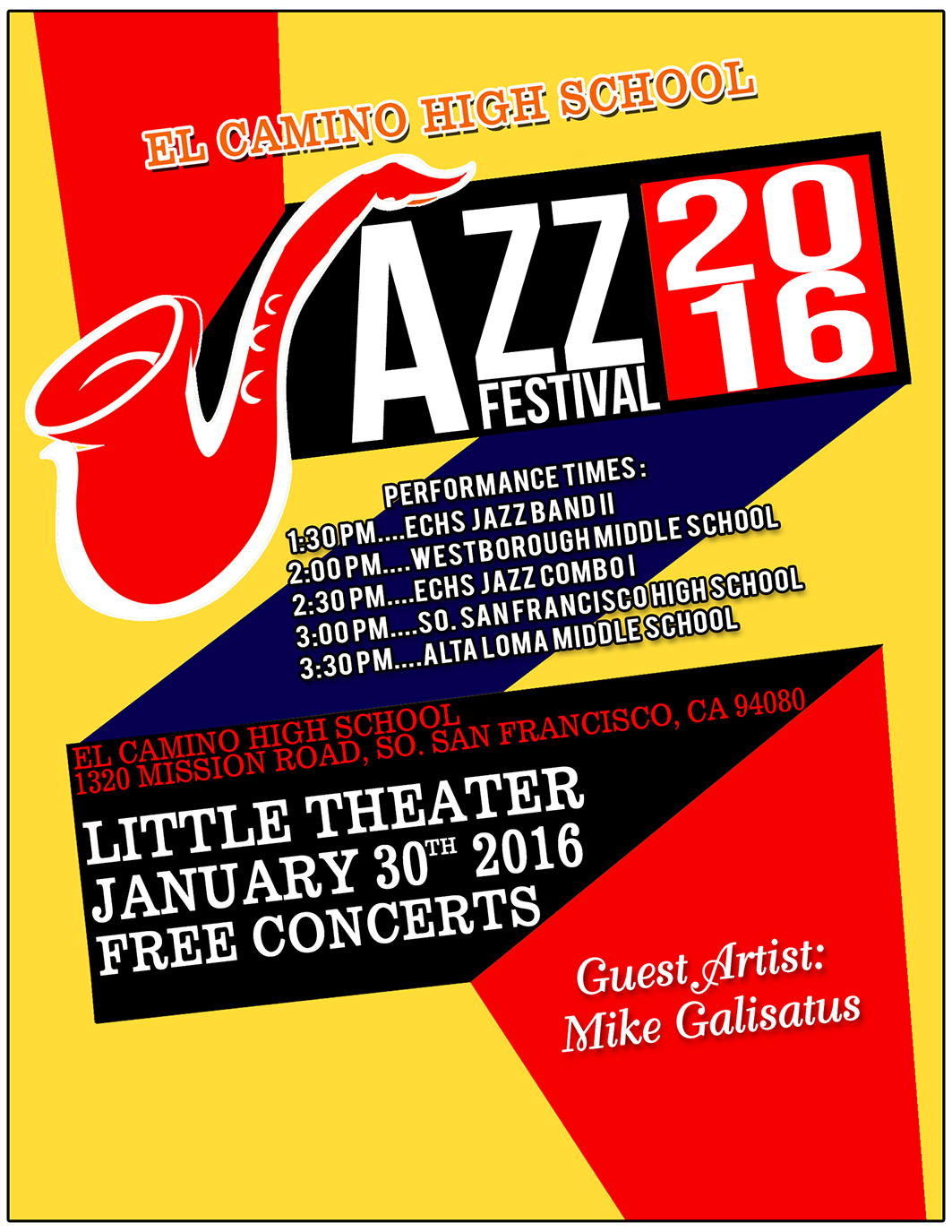 El Camino High School Jazz Department's 3rd Annual Jazz Festival Sat Jan 30th