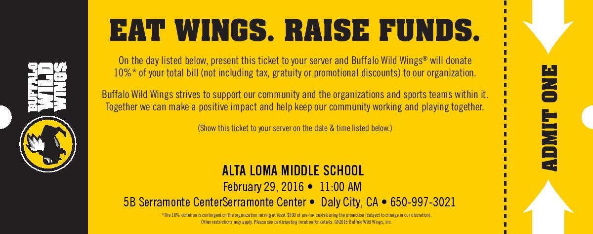 Alta Loma Middle School Fundraises at Buffalo Wild Wings in Serramonte