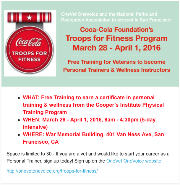 Troops For Fitness Leads FREE Training for Veterans to Earn their ...