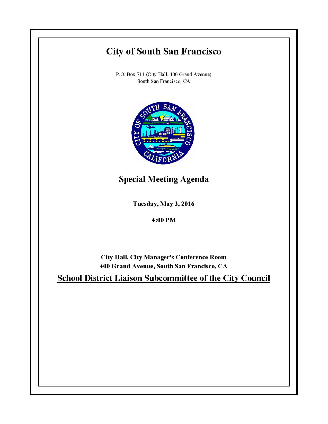 Joint Meeting City Council and SSFUSD Liaison Standing Committee Set for May 3rd