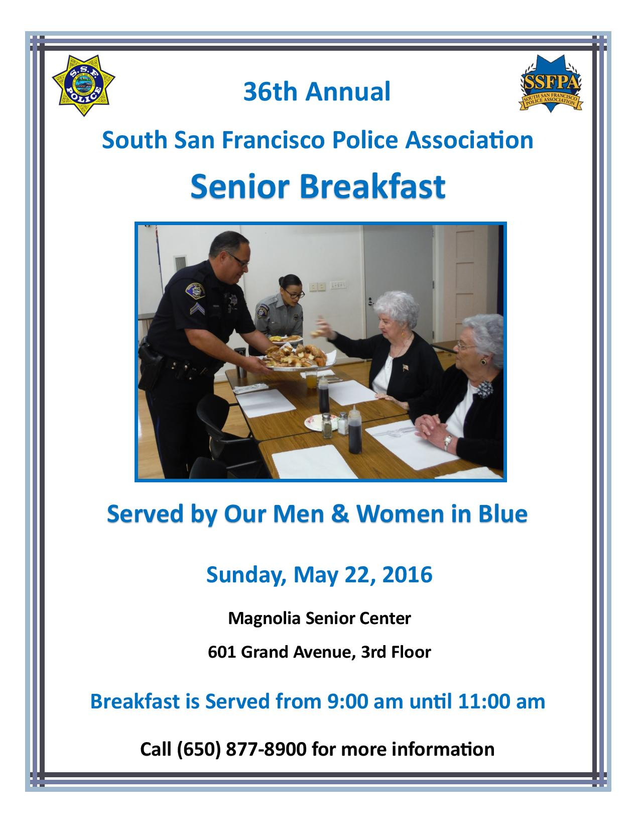 36th Annual SSF Police Association Senior Breakfast May 22nd