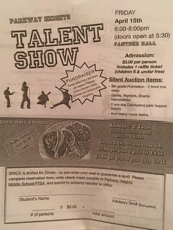 Parkway Heights Middle School To Host Talent Show Dinner Fundraiser April 15th