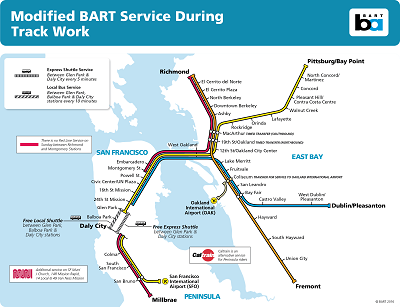 **BART ALERT** No Service Between Glen Park, Daly City, Balboa Park Saturday or Sunday