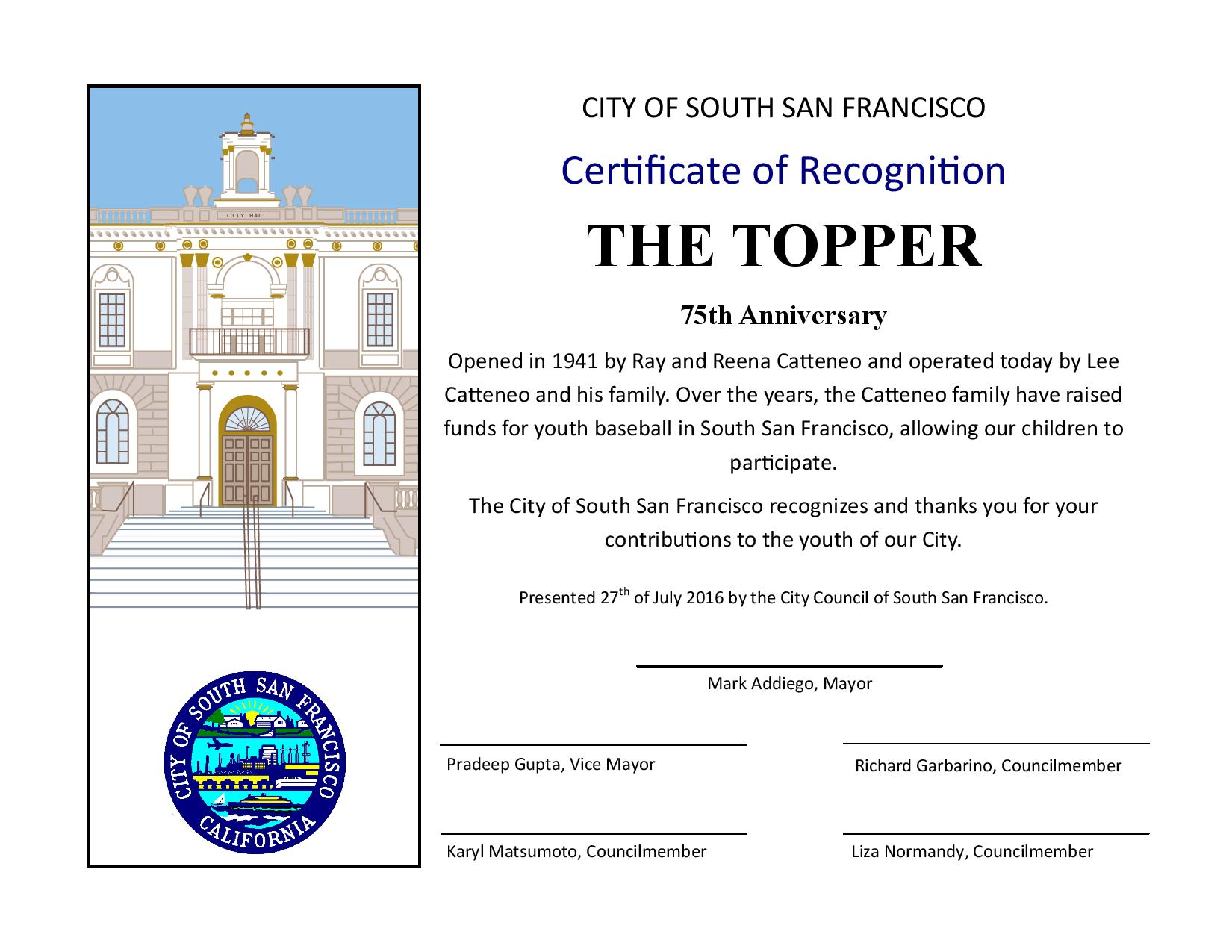 The TOPPER Receives Recognition on 75 Years in South City