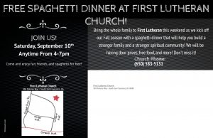Free Spaghetti Dinner at First Lutheran Church