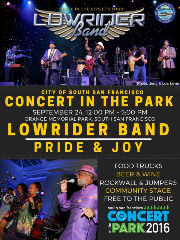 Concert in the Park Slated for Saturday September 24th Featuring the Lowrider Band & Pride and Joy
