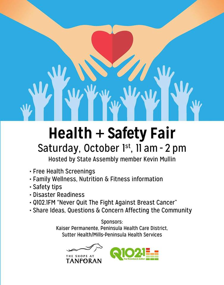 Health & Safety Fair To Be Held at Shops at Tanforan Saturday October 1st