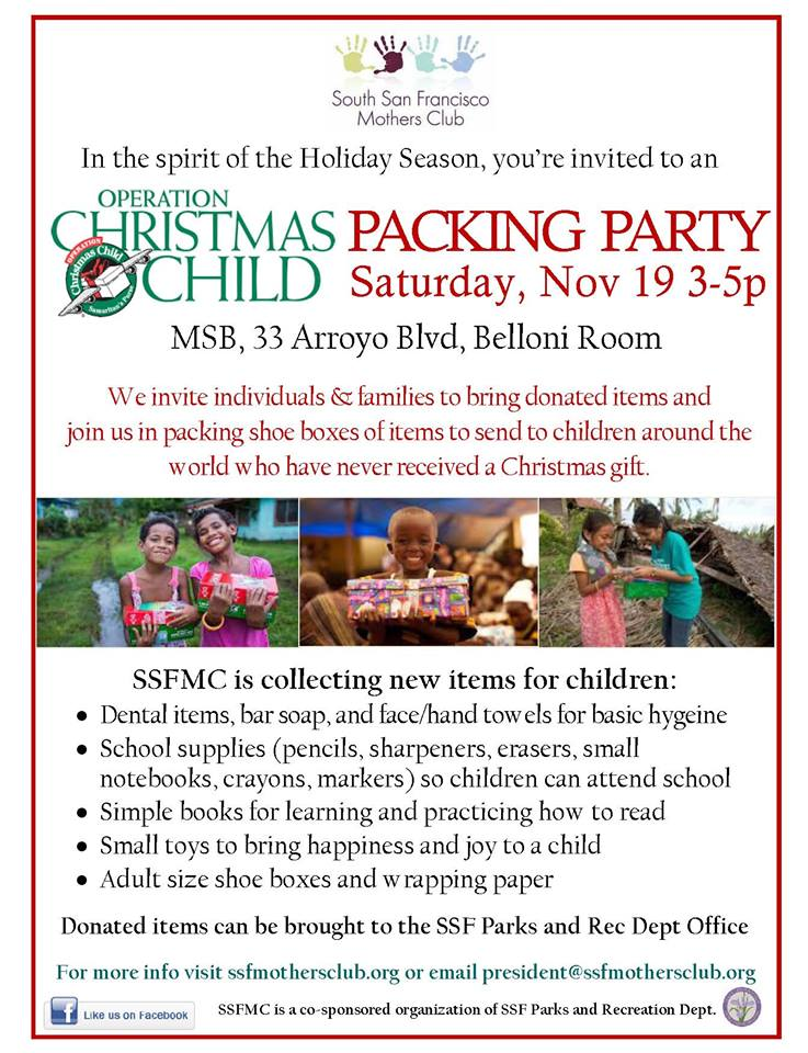 SSF Mother's Club Seeks Volunteers & Donations for World Wide Christmas Giving