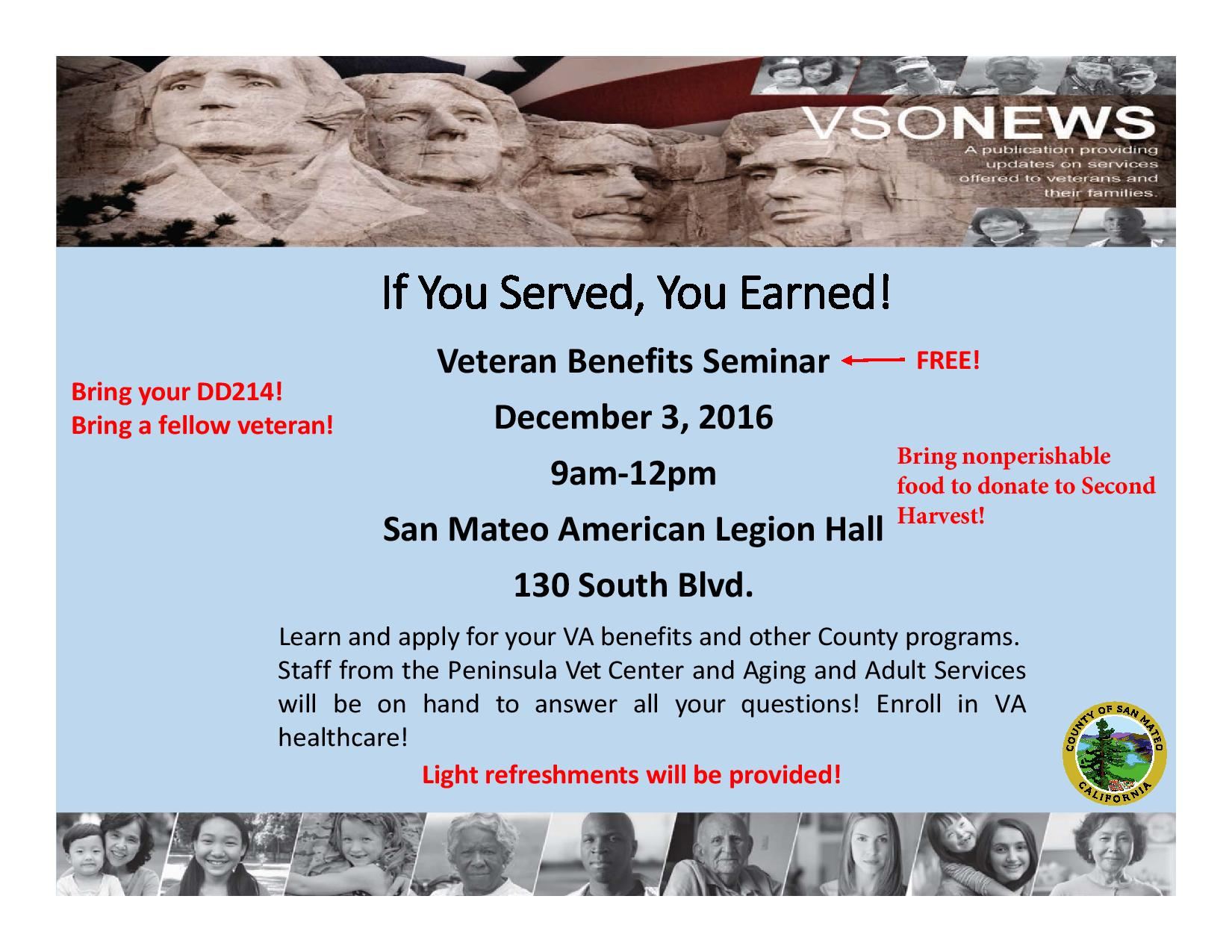 County Veteran Services Benefits Seminar Dec 3 in San Mateo