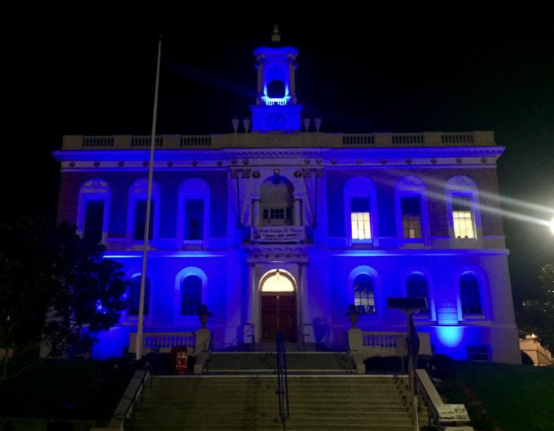 South San Francisco's City Hall Lights Go Blue This Week in Support of our Men and Women in Blue