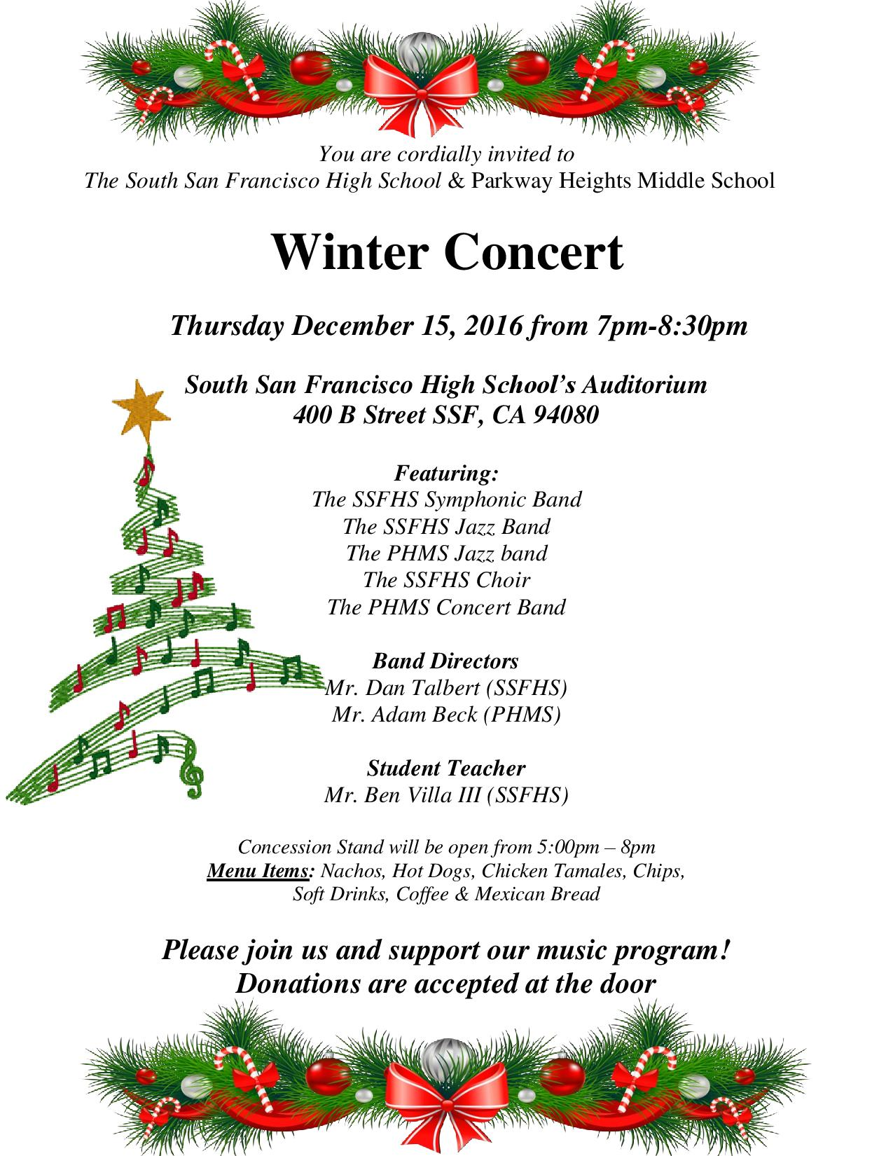 South San Francisco High School & Parkway Heights Middle School Present Winter Concert on December 15th