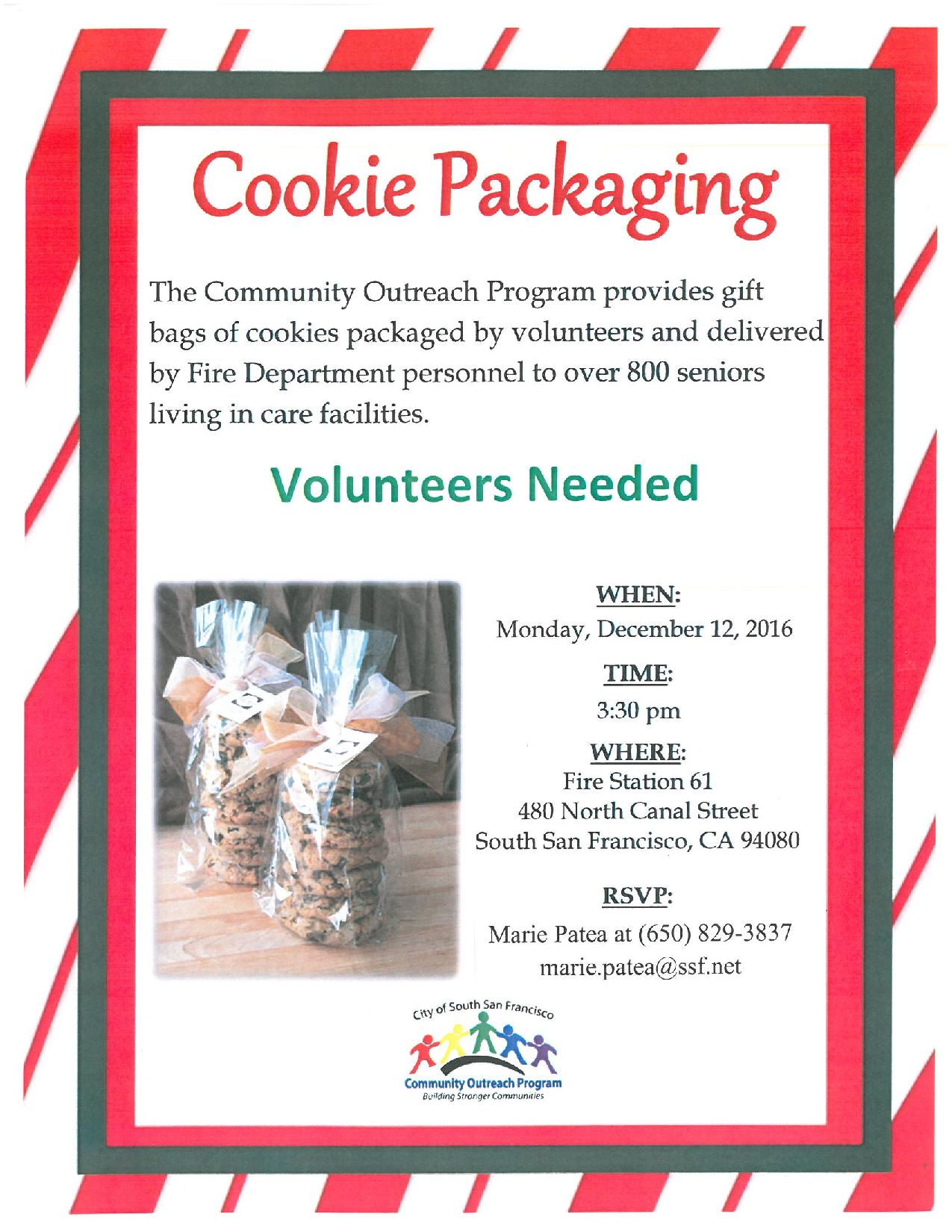 Volunteers Needed: Package Cookies For Our SSF Seniors