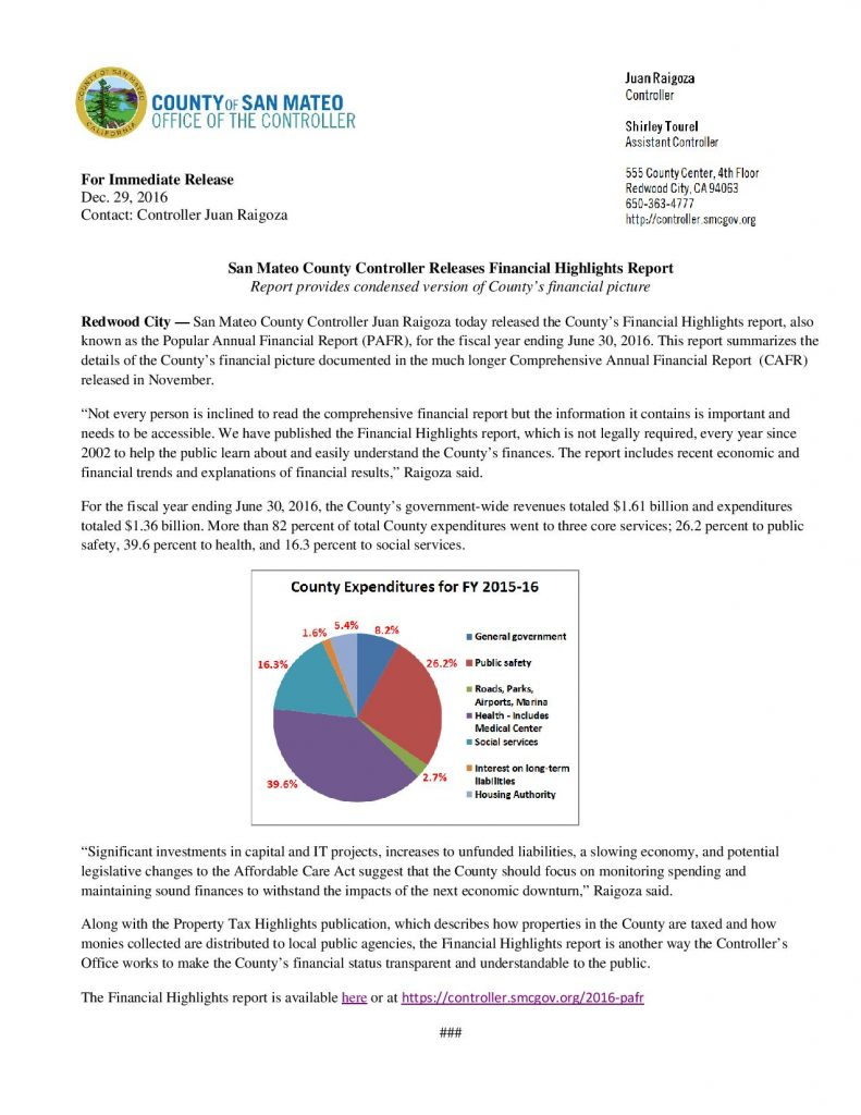 San Mateo County Controller Juan Raigoza Releases County Financial Report – Where $ Comes From & Where $ Goes