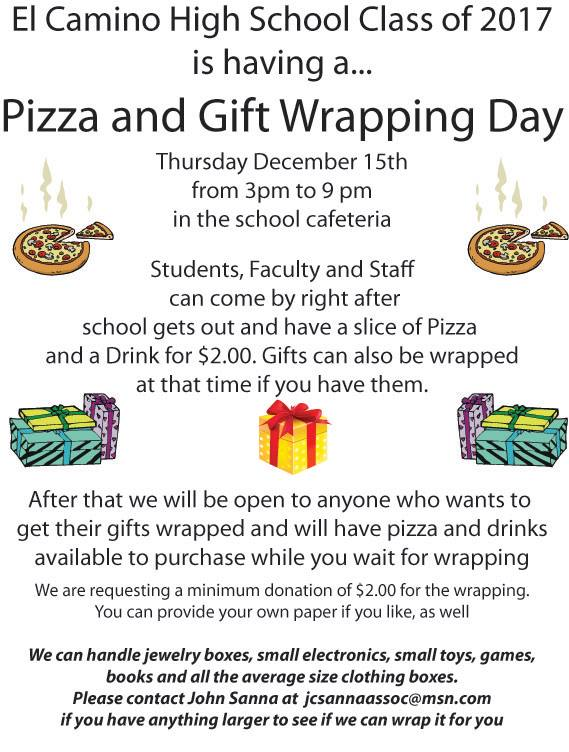 ECHS Hosts Pizza & Gift Wrapping Day December 15th