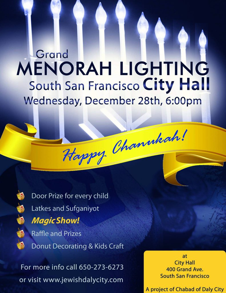 Chabad of Daly City to Host Menorah Lighting Wednesday Dec 28th at SSF City Hall