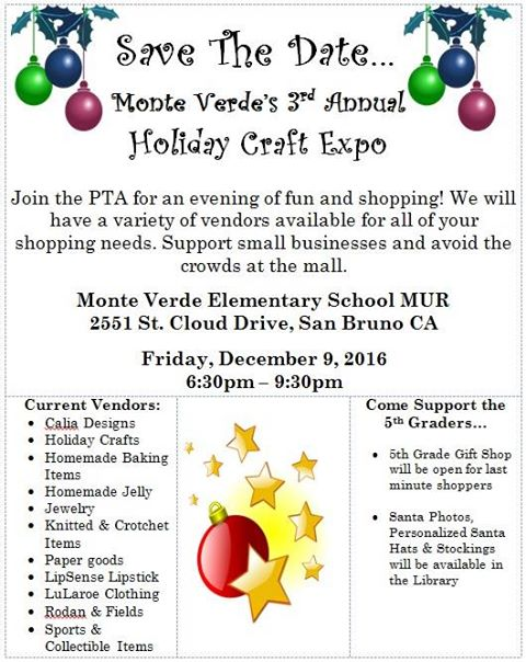 Monte Verde Elementary's 3rd Annual Holiday Craft Expo Friday Dec 9th