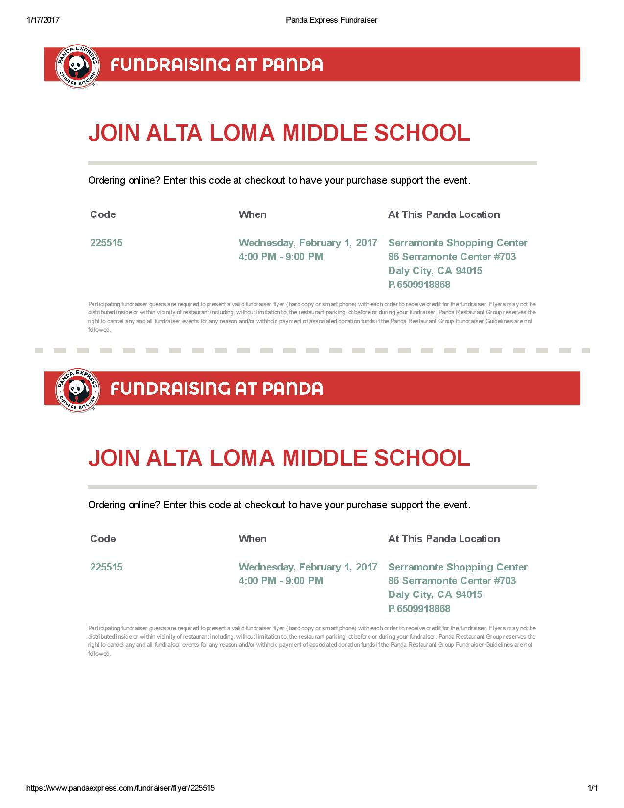 Alta Loma Middle School Hosts Fundraiser at Panda Express February 1st