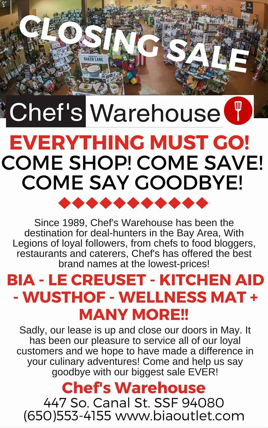 Chef's Warehouse Is Closing – Lease is up May 2017