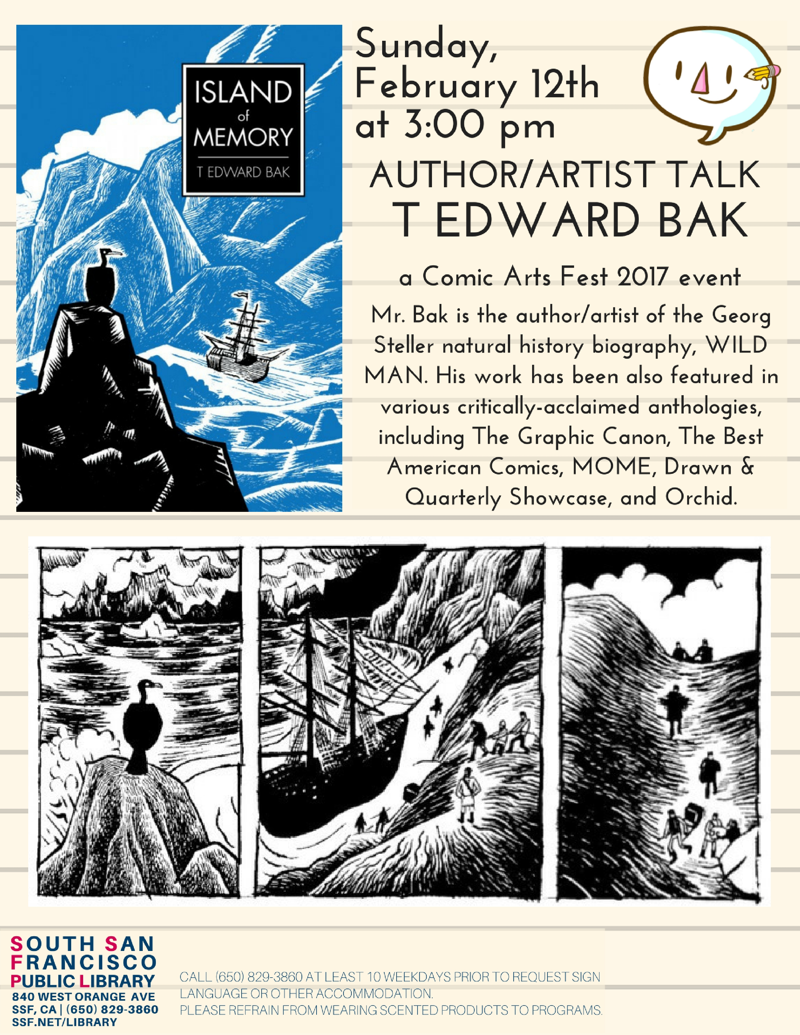 Author/Artist Talk: WILD MAN- The Natural History of Georg Wilhelm Steller at SSF Library Sunday Feb 12th