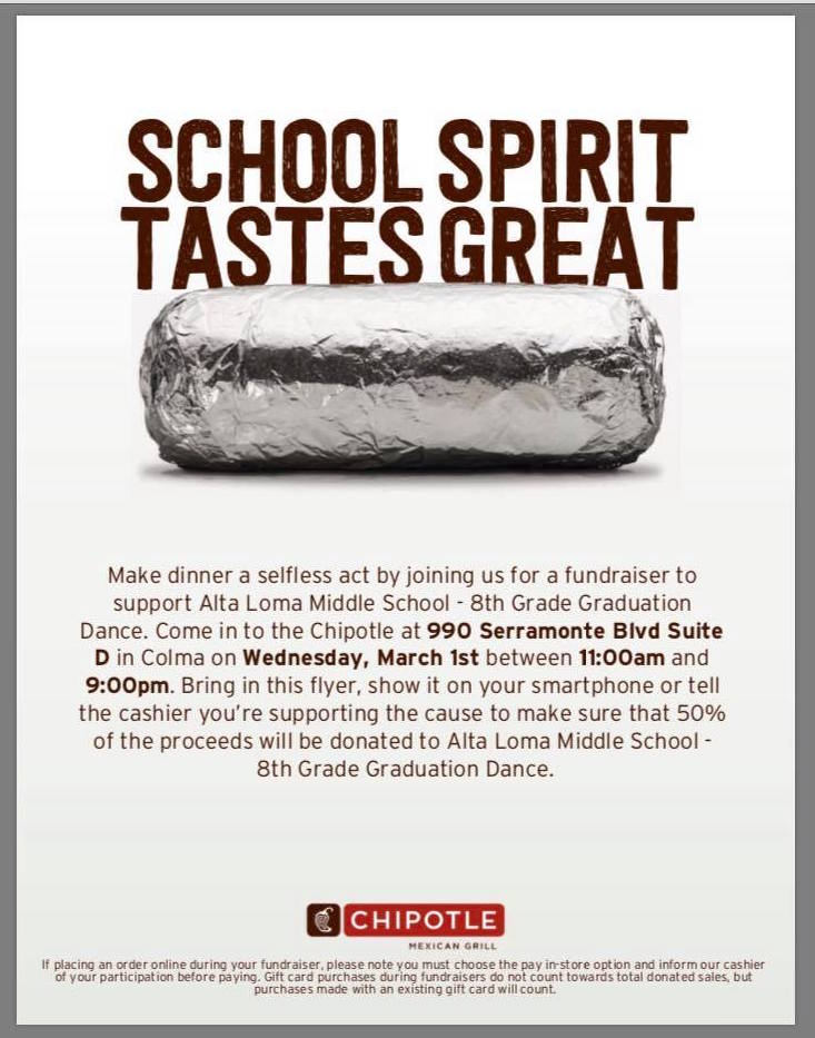 Chipotle Supports Alta Loma Middle School Fundraiser: Be There!